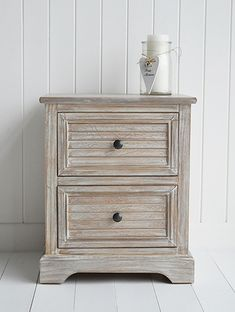 Richmond limed wooden lamp or bedside table. Range hallway of furniture with fast delivery from The White Lighthouse. Coastal, Country, Scandi, New England, Shabby Chic and French Styles