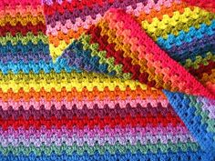 Transcendent Crochet a Solid Granny Square Ideas. Inconceivable Crochet a Solid Granny Square Ideas. Granny Stripes, Granny Stripe Blanket, Striped Crochet Blanket, Rainbow Crochet, Granny Square Crochet Pattern, Basic Crochet Stitches, Crochet Basics, Crochet Granny, Square Blanket