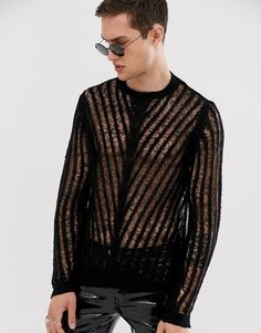 Buy ASOS DESIGN knitted mesh jumper in black at ASOS. Get the latest trends with ASOS now. Leather Fashion, Leather Men, Mens Fashion, Fashion Outfits, Pvc Trousers, Jumper, Men Sweater, Asos, Vinyl Clothing