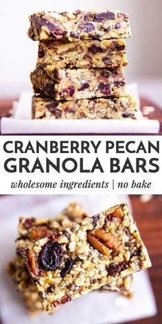 Wondering how to make healthy homemade granola bars? These are simple to put together no bake and ultra chewy - this is the best easy granola bar recipe youve been waiting for! Granola Bar Recipe Easy, No Bake Granola Bars, Healthy Granola Bars, Chewy Granola Bars, Healthy Bars, Healthy Snacks, Granola Bar Recipes, Healthy No Bake, Breakfast Granola Bar Recipe