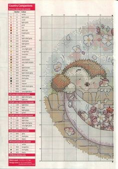 Spring Fever (Country Companions) From Cross Stitch Crazy April 2015 3 of 4 Hedgehog Cross Stitch, Cross Stitch Art, Cross Stitch Animals, Cross Stitching, Cross Stitch Patterns, Cross Stitch Pictures, Tatty Teddy, Embroidery Patterns, Needlework