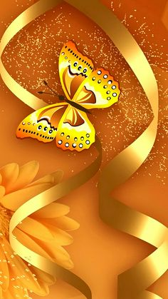 Gold with Gold Butterfly Wallpaper Wallpaper Keren, Gold Wallpaper, Butterfly Wallpaper, Butterfly Flowers, Beautiful Butterflies, Mobile Wallpaper, Wallpaper Backgrounds, Wallpaper Ideas, Best Iphone Wallpapers