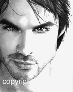 Ian Somerhalder Damon Salvatore The Vampire by TheBerryPress, $15.00