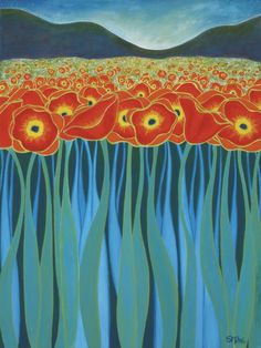 Field of Poppies. Poppies will put them to sleep. Silk Painting, Painting & Drawing, Colorful Roses, Naive Art, Botanical Art, Landscape Art, Painting Inspiration, Flower Art, Poppies
