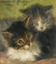 """""""Two Kittens"""" -- by Henriette Ronner-Knip (Dutch, 1821–1909) from a Private Collection"""
