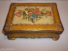 Vintage Italian Florentine Toleware Wood Jewelry Trinket Box Gold FLORAL