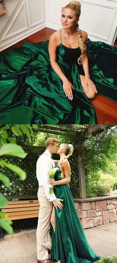 Green Spaghetti Straps Party Dress A-Line Simple Backless Slit Prom Dresses Dark Green Prom Dresses, Prom Dresses For Teens, A Line Prom Dresses, Cheap Prom Dresses, Green Dress, Evening Dresses, Party Dresses, Ball Dresses, Backless Dresses