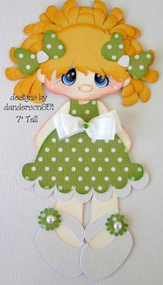 Girl Green White  Paper Piecing PreMade 4 Borders Scrapbook Album danderson651