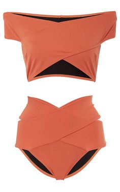 This OYE Lucette Banded Bikini Set features an off the shoulder neckline, allover cutouts, and a two piece construction.