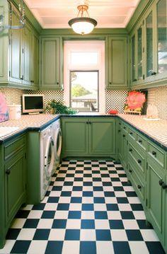 Rustic Jewel - mediterranean - laundry room - minneapolis - Choice Wood Company -- note window and flooring