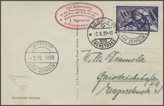 "1929 (2. oct) : 4. Switzerland flight, card from droped ""Zürich 13-Oberstrass 2. X. 29. 22"" franked by 40 Rp. airmail and scarce board cancllation SHL empty spaces with ornaments, between stamps 15B = CHF 800 + single franking = CHF"
