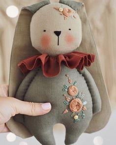 Colorful fabrics digitally printed by Spoonflower - Sleepy Wakey Bear DIY fat quarter - Her Crochet Doll Sewing Patterns, Sewing Dolls, Fabric Doll Pattern, Fabric Toys, Paper Toys, Bunny Toys, Bunnies, Handmade Felt, Soft Dolls