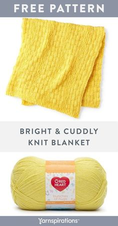 Free Knitting Pattern   Red Heart Bright And Cuddly Knit Blanket   #yarnspirations #freeknitpattern #bernat #caron #redheart #patons #lilysugarncream #knitblanket Knitted Afghans, Crochet Blanket Patterns, Knitted Blankets, Baby Knitting Patterns, Baby Patterns, Knitting Yarn, Free Knitting, Free Crochet, Knitted Hats