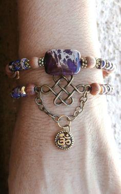 Endless Knot, Om & Purple Variscite Meditation wrap with Rosewood, Yoga bracelet, Meditation mala bracelet, Reiki charge, free shipping