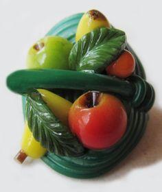 Vintage Celluloid Weeber Basket of Fruit Button.