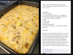 Biscuits and gravy casserole, yum