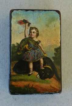 Antique Papier Mache Snuff Box Child With Dog