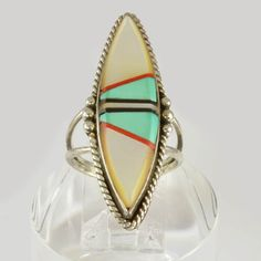 Vintage Sterling Silver Zuni Inlay Ring