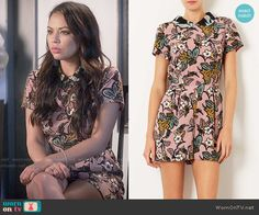 Mona's pink floral collared playsuit on Pretty Little Liars. Outfit Details: https://wornontv.net/56280/ #PLL