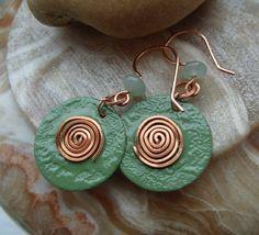 Green enamel and copper earrings