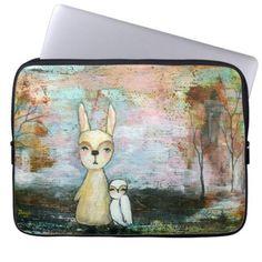 Woodland Creatures Rabbit Owl Whimsical Animal Art.  SOLD!!