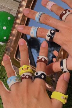 Fimo Ring, Polymer Clay Ring, Funky Jewelry, Cute Jewelry, Diy Clay Rings, Pulseras Kandi, Aesthetic Rings, Accesorios Casual, Cute Clay