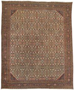 """Mahal 13'4"""" x 16'4"""" Circa 1880 Central Persia Ref no. 1064 {rugs, carpets, traditional, home collection, decor, warp & weft}"""