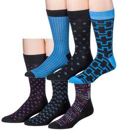 James Fiallo Men's 6 Pairs Colorful Patterned Dress Socks, Fits shoe 6-12 (sock size 10-13), M168-BLU.DOT-6