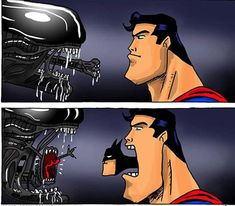 Superman The post Alien vs. Superman [Comic] appeared first on Gag Dad. Batman Vs Superman, Batman Meme, Batman Vs Alien, Superhero Memes, Heros Comics, Bd Comics, Marvel Dc Comics, Funny Comics, Funny Images