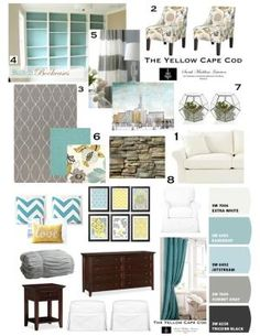 Update to our bedroom!! The Yellow Cape Cod: Design plan in turquoise & yellow & gray- perfect color scheme for master bedroom!   LOVE THIS COLOR scheme! So relaxing with a punch of color by britt13