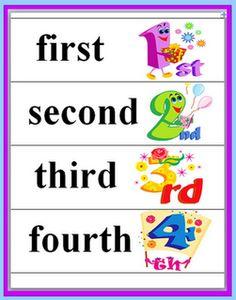 Classroom Freebies: Ordinal Words and Numbers Freebie