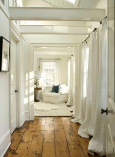 White wood, draped puddled long curtains #naturalcurtaincompany #stylishneutrals #white curtains