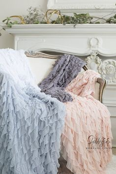 Soft Ruffled Throw, Blanket, Photography Prop. Beach Glass....White...Cream...Pink...Grey...Blue...Available