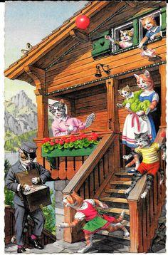 Cartão Postal Alfred Mainzer Original ~ Gatos esperando Carteiro para dar de e-mail # 4986 in Colecionáveis, Cartões postais, Animais | eBay
