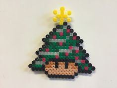Perler bead mushroom Christmas tree with decorations - by Bjrnbr