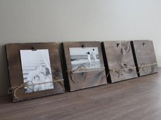 SET OF 4 Clip Frames - 4x6 or 5x7 Photo Display, Clip Frame, Wood Photo Board, Hanging Clipboard, Rustic, Shabby Chic