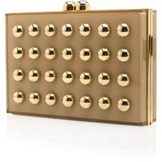 ELIE SAAB Gold Studded Square Clutch ❤ liked on Polyvore