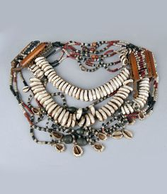 India ~ Kerala | Necklace; shell and beads | ca. 1932 or earlier
