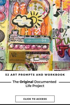 Get access to the Original Documented Life Project prompts Life Journal, Bullet Journal, Art Prompts, Handmade Journals, Art Challenge, Journalling, Tag Art, Art Techniques, Art Journals