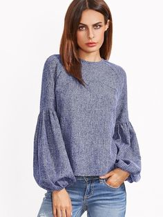 Shop Grey Keyhole Back Lantern Sleeve Top online. SheIn offers Grey Keyhole Back Lantern Sleeve Top & more to fit your fashionable needs. Fashion Casual, Boho Fashion, Fashion Outfits, Fashion Women, Fashion Shoes, Fashion Clothes, Trendy Fashion, Fall Outfits, Autumn Fashion