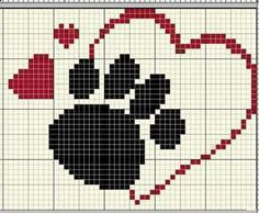 Image result for paw print inside heart knitting chart