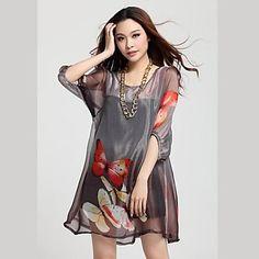 Print Loose Fit Puff Sleeve Mini Dress (Random Prints)