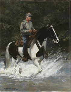 Horse Art Print featuring the painting Big Creek Man On Spotted Horse by Don Langeneckert