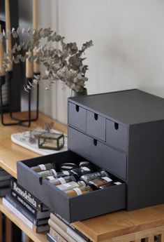 Ikea Hack: Repurposing the Moppe Storage Chest as a Spice Cabinet We like nothing more than a good Ikea hack. A Remodelista editor explains how she repurposed a desktop storage chest as a pretty spice cabinet. Kitchen Storage Hacks, Ikea Storage, Craft Room Storage, Storage Chest, Spice Storage, Storage Trunk, Cabinet Storage, Ikea Makeup Storage, Ikea Closet Hack