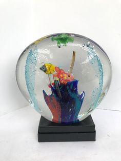 Vinci Dynasty Gallery Sea Ocean Fish Heavy Large Fused Glass Sculpture