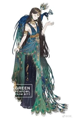 """Beautiful green peacock dress Related Post Rem Knit Dress Ver Re:ZERO Figure Beautiful Anime Drawings & Illustrations to I. foolarcana: """"I'm crying, beautiful art of Inojin a. Fantasy Character Design, Character Design Inspiration, Character Art, M Anime, Anime Art Girl, Star Wars Tattoo, Star Tattoos, Anime Outfits, Cute Art"""
