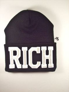 RICH Beanie by Ashlei Shannon - White On Black beanie with words