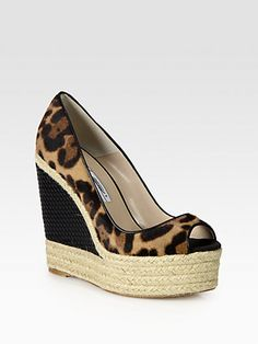 Brian Atwood - Cailey Leopard-Print Pony Hair & Leather Espadrille Wedges - Saks.com