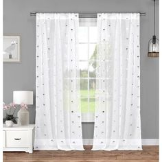 Duck River Metallic Sandie Flamingo Pole Top Curtain Panel Pair, White, Size 84 Inches (Polyester, Solid)