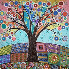 Colored folk art tree by Karla G.